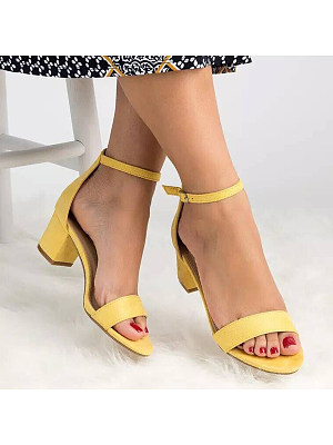 Plain Chunky Mid Heeled Velvet Ankle Strap Peep Toe Date Office Platform Sandals, 6228353