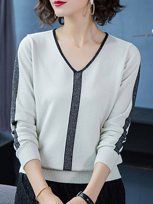 V Neck Patchwork Elegant Color Block Long Sleeve Knit Pullover, 8906105