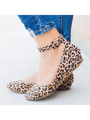 Animal Printed Low Heeled Velvet Ankle Strap Round Toe Pumps, 6362901