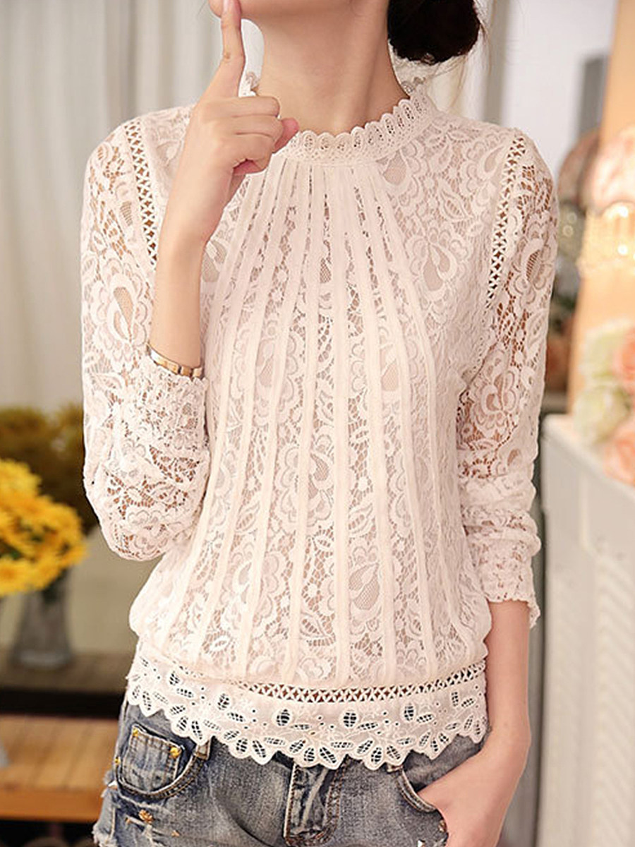Band Collar  Embroidered  Lace Blouses
