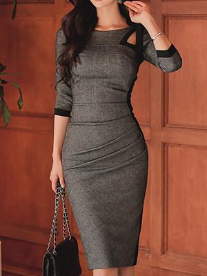 Tie Collar Plain Bodycon Dress, 4379913
