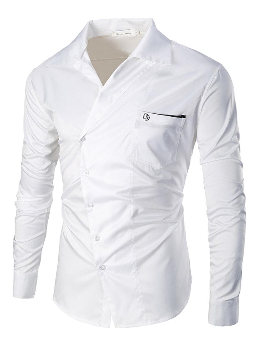 Men Plain Diagonal Buttons Patch Pocket Shirts