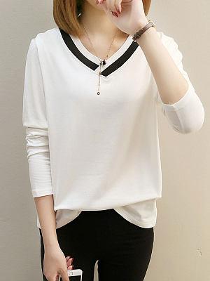 V-Neck Patchwork Plain Long Sleeve T-Shirts, 4156036