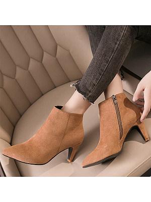 Plain Stiletto Point Toe Boots, 8914945