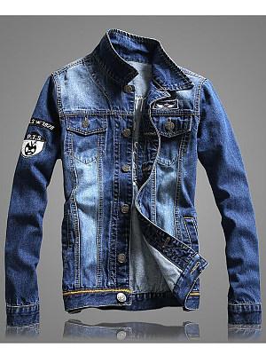 Denim Letters Embroidery Flap Pocket Men Jacket