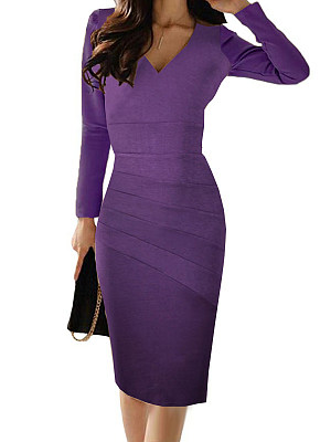 V-Neck Ruched Plain Bodycon Dress фото