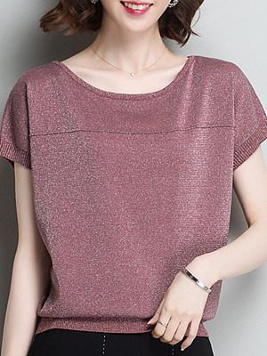 Round Neck Loose Fitting Plain Short Sleeve T-Shirts