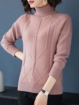 Heap Collar  Elegant  Plain  Long Sleeve  Knit  Pullover