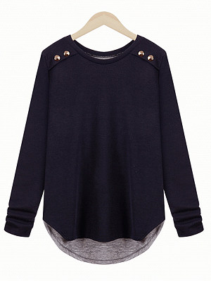 Round Neck Decorative Buttons Patchwork Long Sleeve T-Shirts