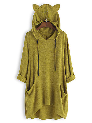 Cute Casual Pure Colour Long Sleeve Pockets Midi Hoodie, 8471718