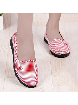 Berrylook coupon: Geometric  Flat  Cotton  Round Toe  Casual Flat & Loafers