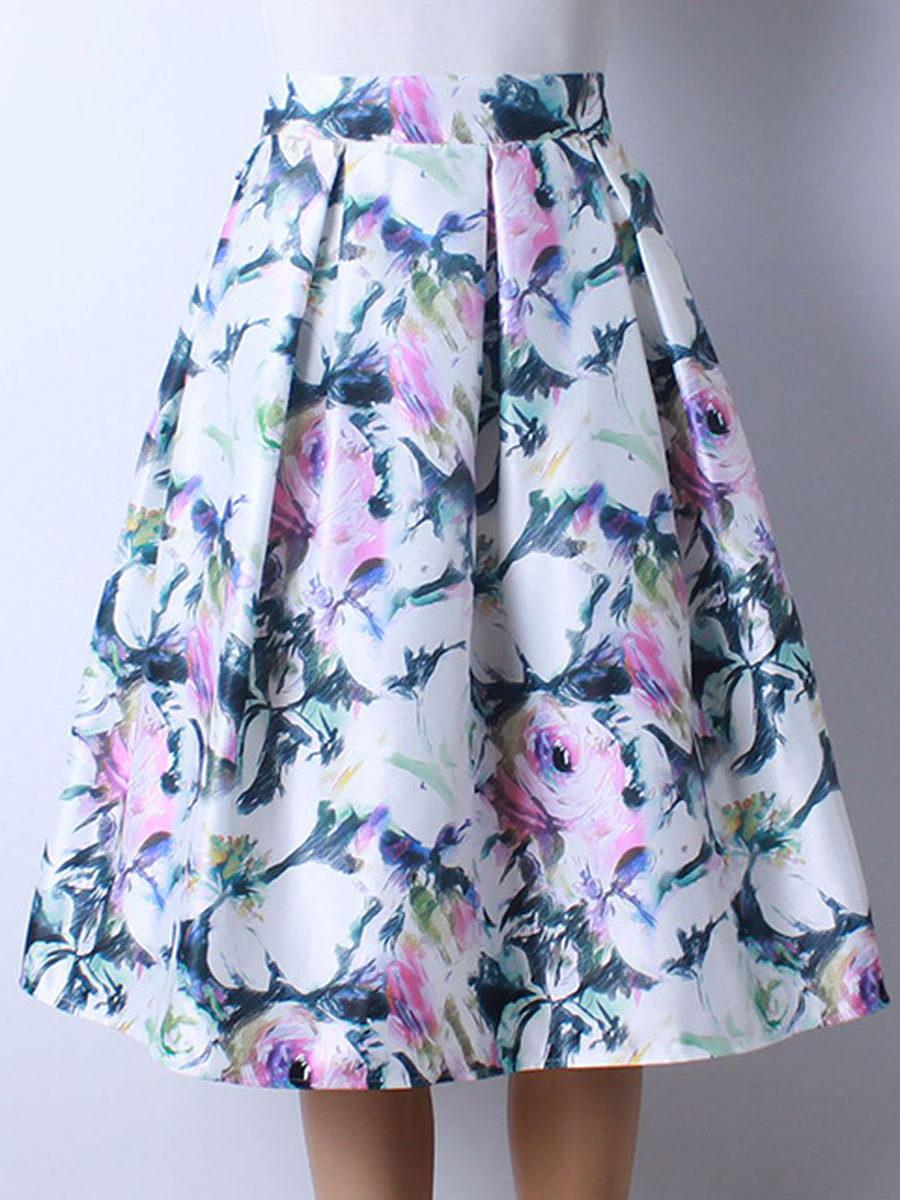 Elastic Waist  Printed  Flared Elegant Midi Skirt