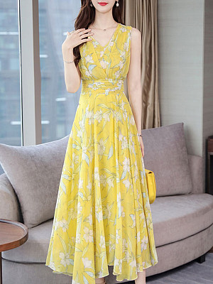 Berrylook V Neck Floral Printed Maxi Dress cheap online shopping sites, online, Fitted Maxi Dresses, maxi dresses with sleeves, empire waist dress