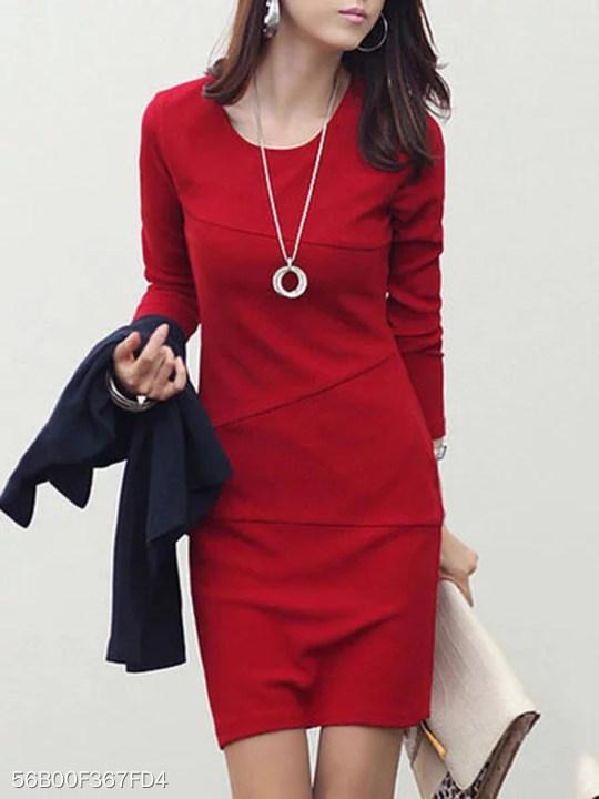 Women Round Neck Plain Bodycon Dress Berrylook Com