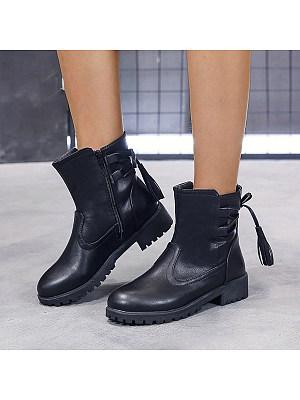 Plain Flat Round Toe Casual Flat Boots, 8508224