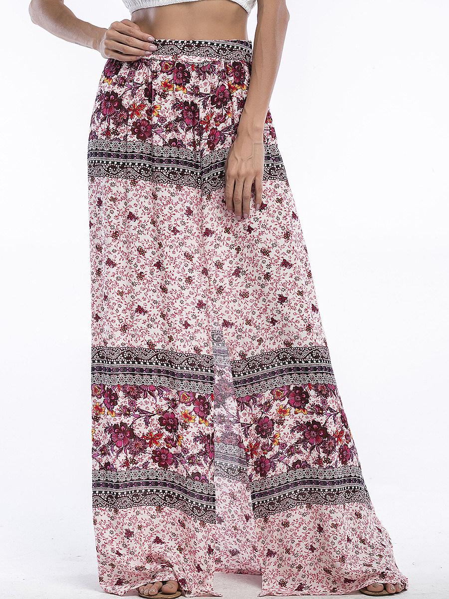Slit  Tribal Printed  Flared Maxi Skirt