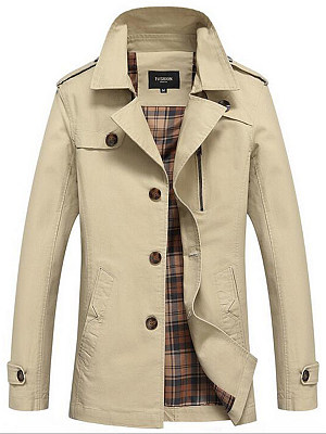 Men Lapel Single Breasted Pocket Jacket фото
