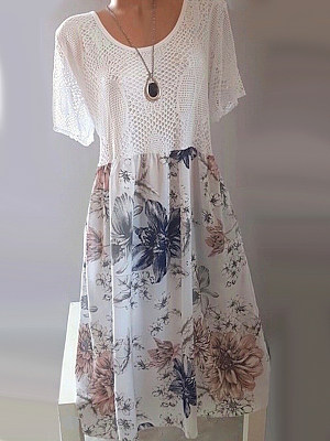 Round Neck Patchwork Floral Printed Lace Shift Dress фото