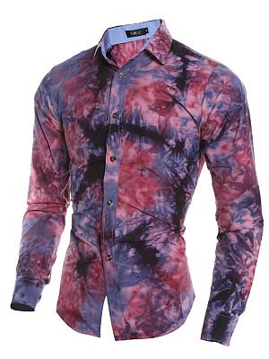 Tie/Dye Abstract Print Long Sleeve Men Shirts