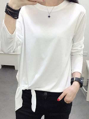 Round Neck Lace Up Plain Long Sleeve T-Shirts