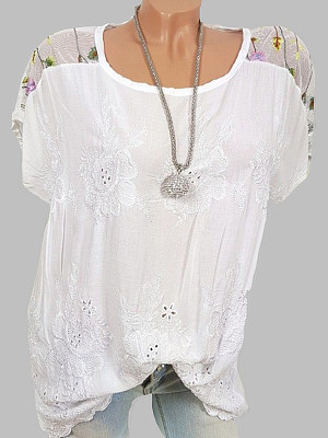 Spring Summer Polyester Women Round Neck Patchwork Floral Hollow Out Short Sleeve Blouses