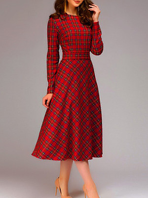 Round Neck Plaid Skater Dress фото
