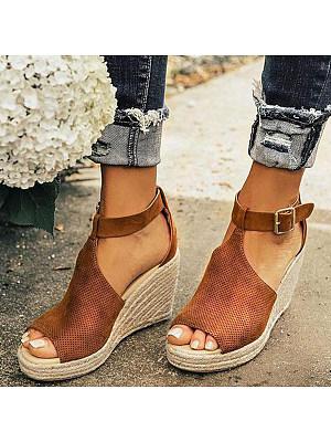 Plain Velvet Peep Toe Date Wedge Sandals, 6455603