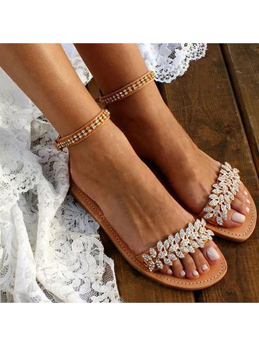 Bohemian  Flat  Ankle Strap  Peep Toe  Date Travel Wedding Flat Sandals