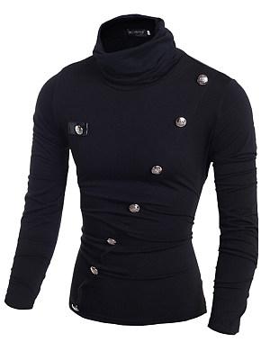Men High Neck  Decorative Button  Plain T-Shirt