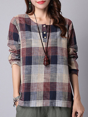 Round Neck Casual Plaid Long Sleeve Linen Blouse, 9569748