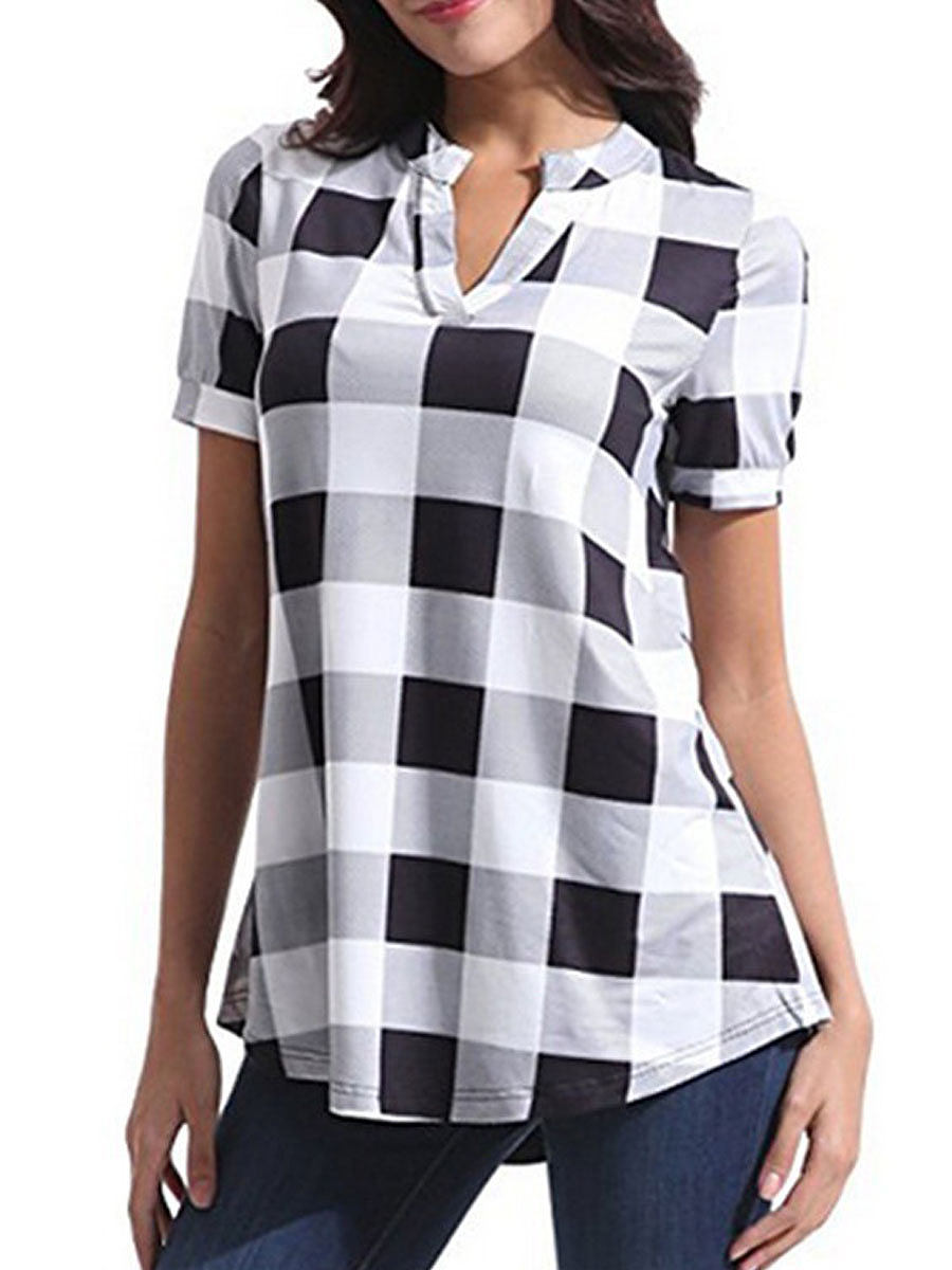 BerryLook Summer  Cotton  Women  Asymmetric Hem  Plaid  Short Sleeve Blouses