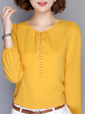 Round Neck Elegant Plain Long Sleeve Blouse, 9956980