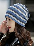 Image of women's striped bandana hat maternity confinement cap head guard collar