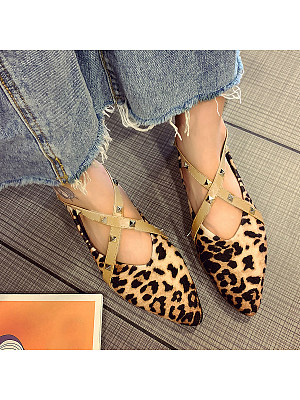 Animal Printed Flat Point Toe Date Office Comfort Flats, 6242748