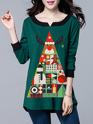Round Neck Christmas Printed Long Sleeve T-Shirt, 9304492