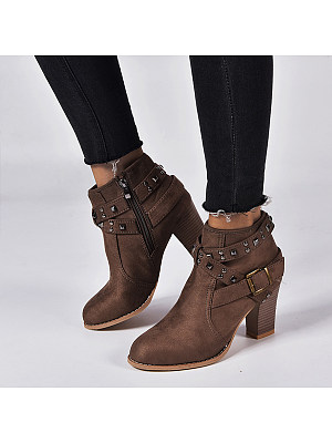 Plain Chunky High Heeled Round Toe Outdoor Boots, 8534550