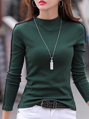 Short High Collar Patchwork Casual Striped Long Sleeve T-Shirt фото
