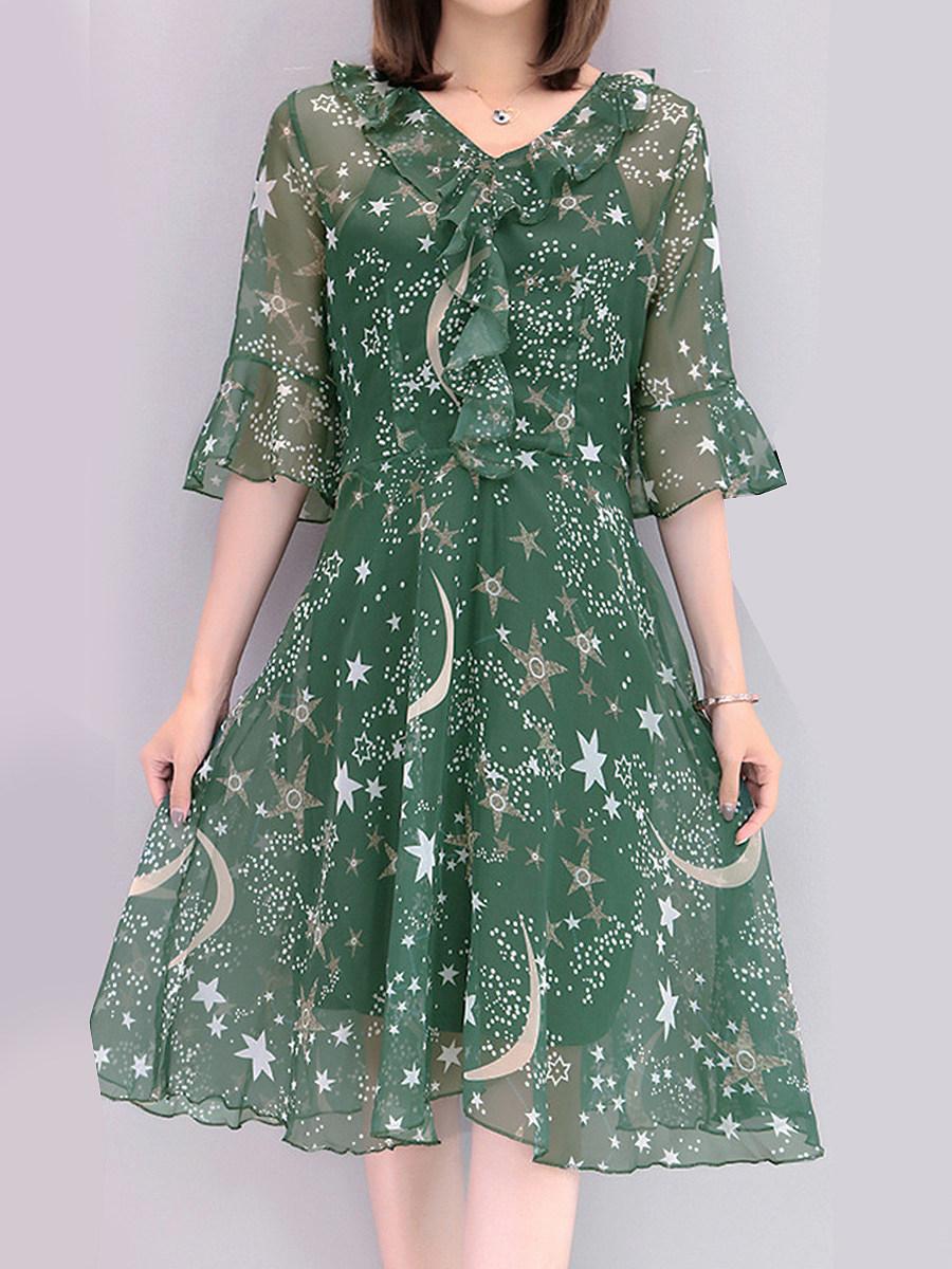 V Neck Flounce Star Bell Sleeve Shift Dress