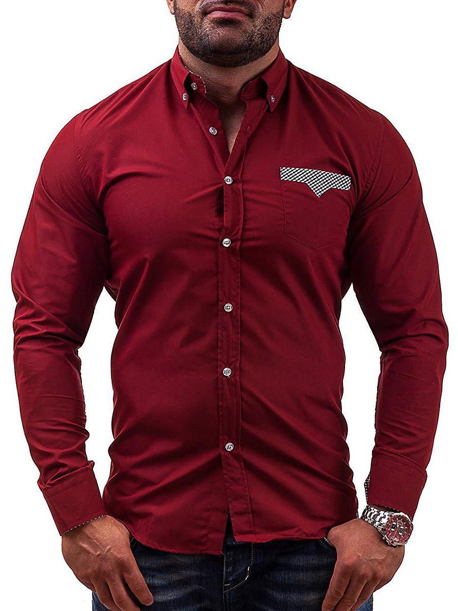 Button Down Collar Plaid Patch Pocket Men Shirts