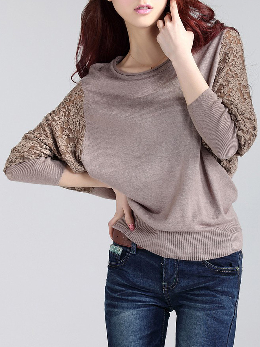 Round Neck Decorative Lace Plain Batwing Sleeve Pullover