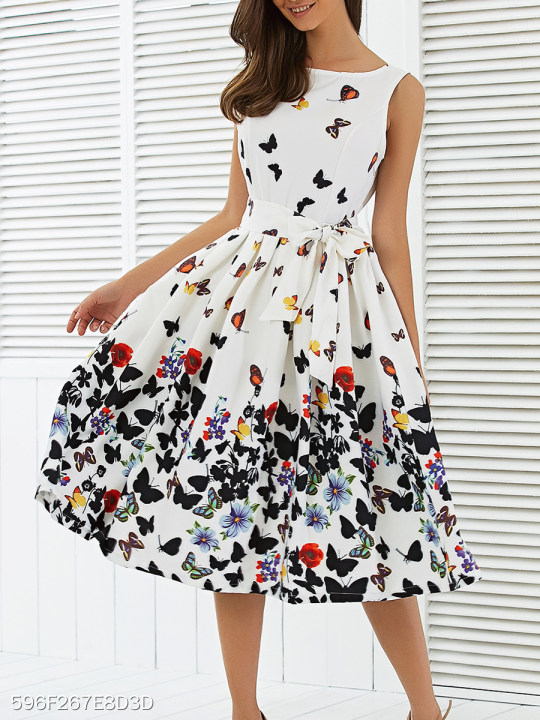82ba6eb1d6ea77 Boat Neck Bowknot Belt Animal Prints Skater Dress - berrylook.com