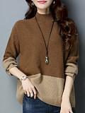 Image of Short High Collar Patchwork Elegant Color Block Long Sleeve Knit Pullover