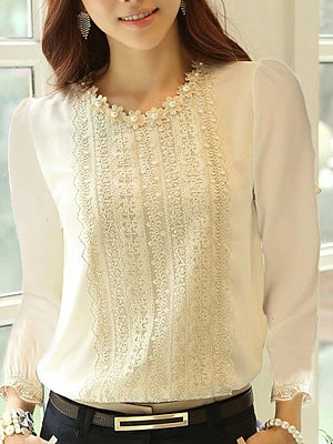 Crew Neck  Beading Decorative Lace  Plain Blouses