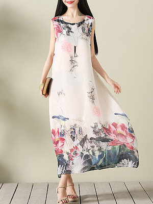 Round Neck Lotus Printed Chiffon Maxi Dress collar_&_neckline:round neck, material:chiffon, occasion:casual,vacation, package_included:dress*1, pattern_type:print, season:summer, sleeve_length:sleeveless, length:126,shoulder:37,bust:102,