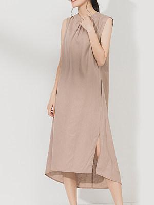 Round Neck Asymmetric Hem Plain Maxi Dress, 7058404