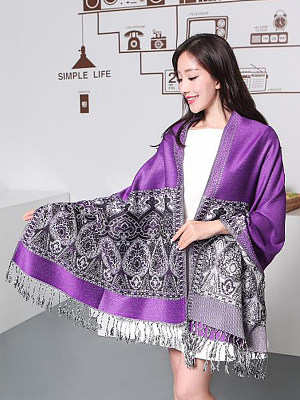 Berrylook coupon: Women Cashmere Scarf Patchwork Shawls Jacquard Scarves Thickening Warm Long Watkins Nap Scarf