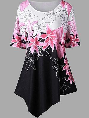 Round Neck Asymmetric Hem Loose Fitting Print Short Sleeve T-Shirts, 6645729