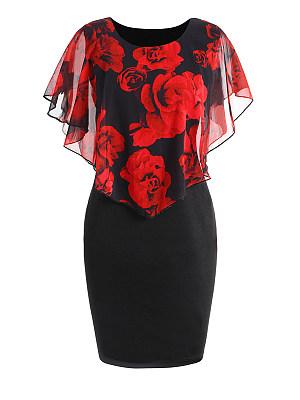 Round Neck  Flounce  Floral Printed  Raglan Sleeve Bodycon Dress