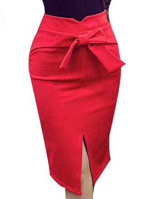 Plain Bowknot Slit Pencil Midi Skirt