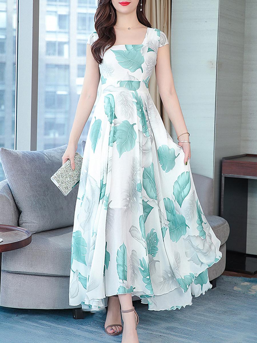 Boat Neck Asymmetric Hem Printed Maxi Dress